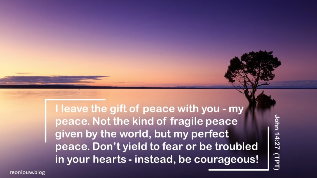I leave the gift of peace with you - my peace. Not the kind of fragile peace given by the world, but my perfect peace. Don't yield to fear or be troubled in your hearts - instead, be courageous!